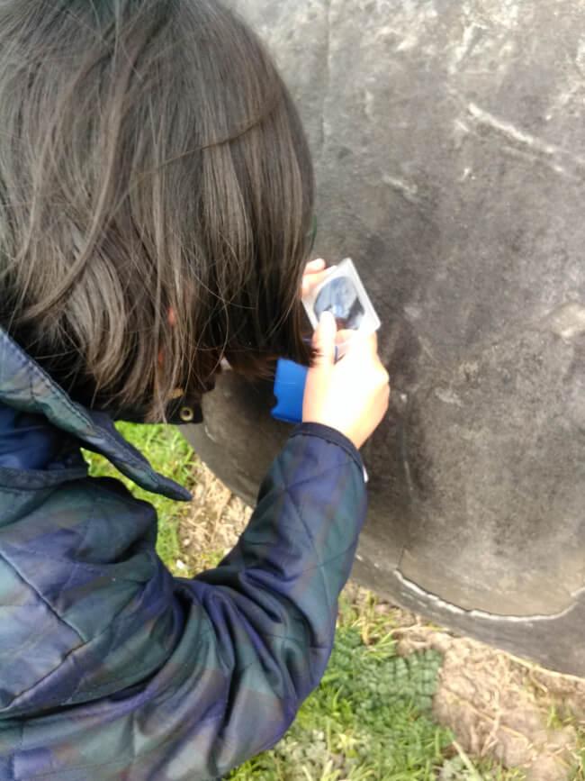 岩を虫眼鏡越しに見る娘