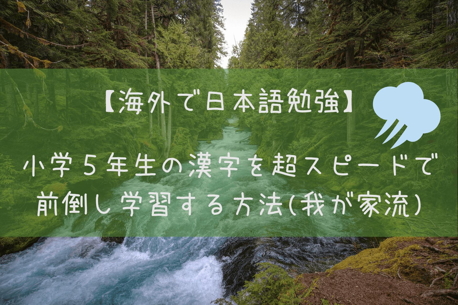 【海外で日本語勉強】 小学5年生の漢字を超スピードで 前倒し学習する方法(我が家流)